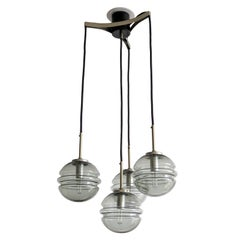 Smoked Glass Four Globe Hanging Fixture