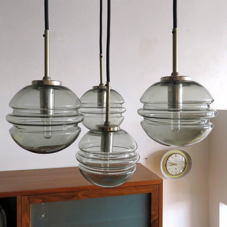 German Smoked Glass Four Globe Hanging Fixture For Sale