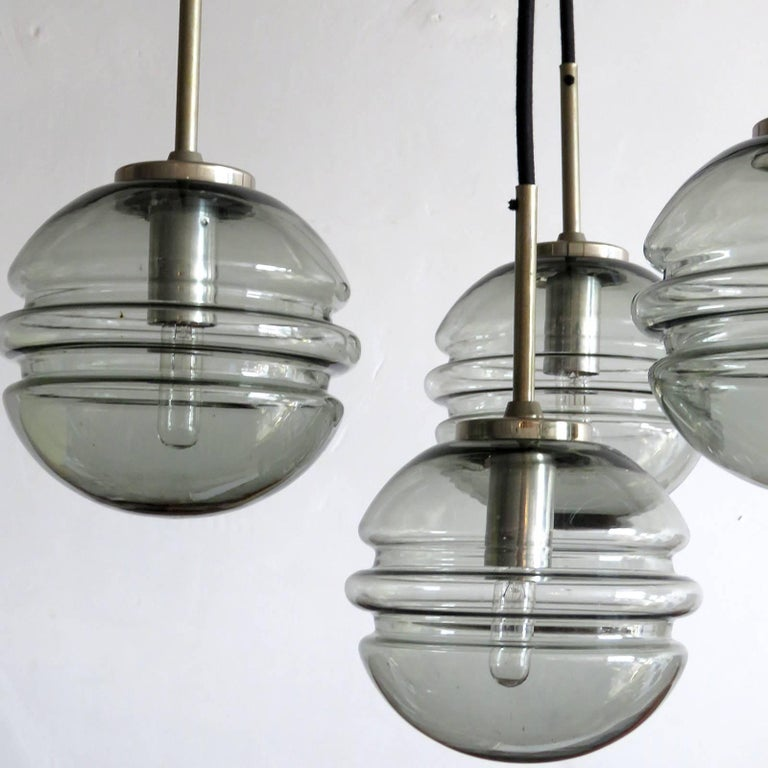 Mid-20th Century Smoked Glass Four Globe Hanging Fixture For Sale