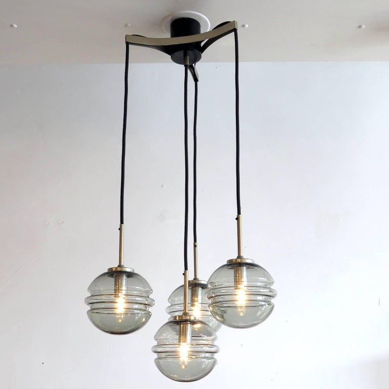 Smoked Glass Four Globe Hanging Fixture For Sale 2