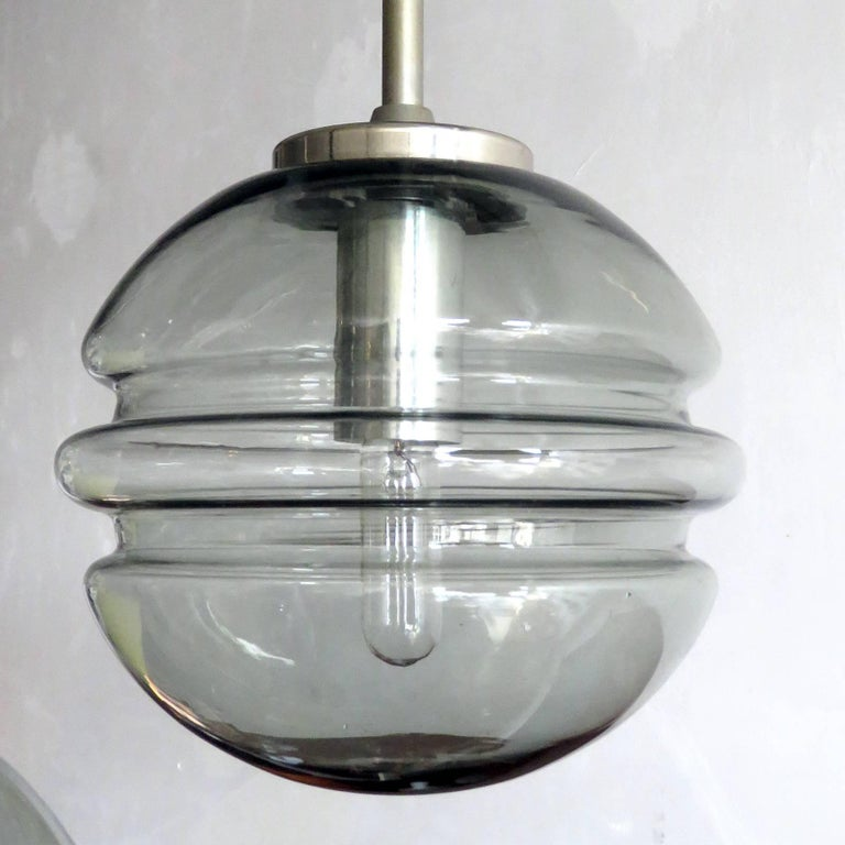 Smoked Glass Four Globe Hanging Fixture For Sale 1