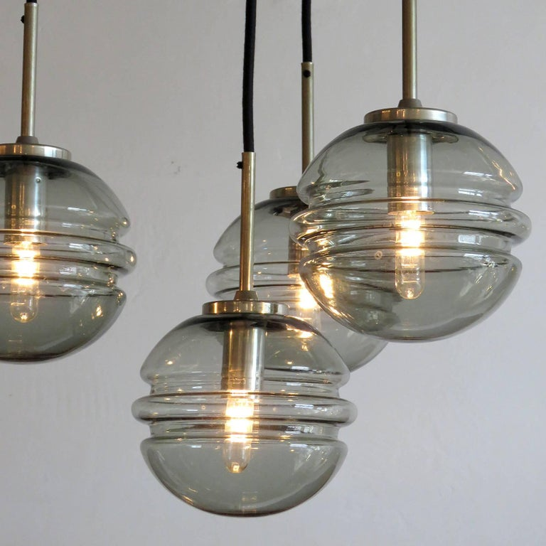 Smoked Glass Four Globe Hanging Fixture For Sale 3