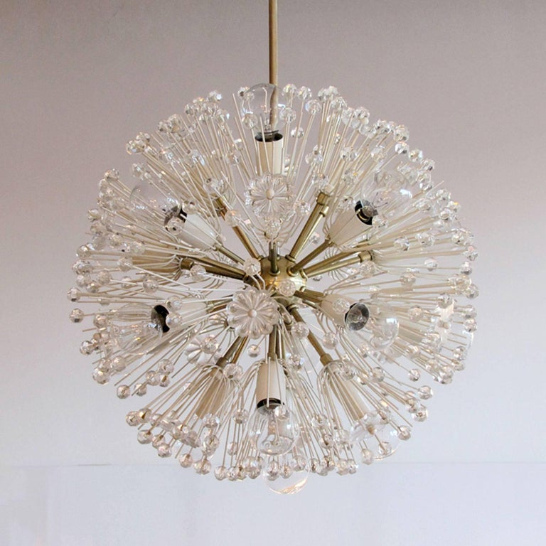Beautiful and delicate sixteen-light brass fixture by Emil Stejnar for Nikoll with copious amounts of Austrian crystals, rewired for US J-boxes, overall height can be adjusted, max. wattage 25 W per socket.