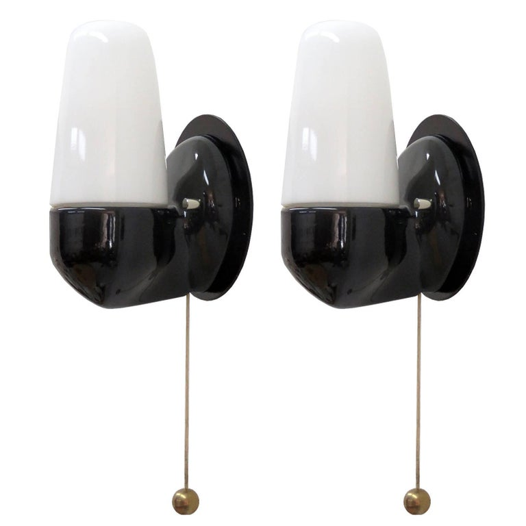 Pair of Black Wilhelm Wagenfeld Wall Lights