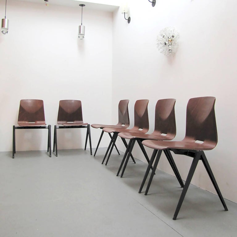 Mid-20th Century Six Dining Chairs by Galvanitas For Sale