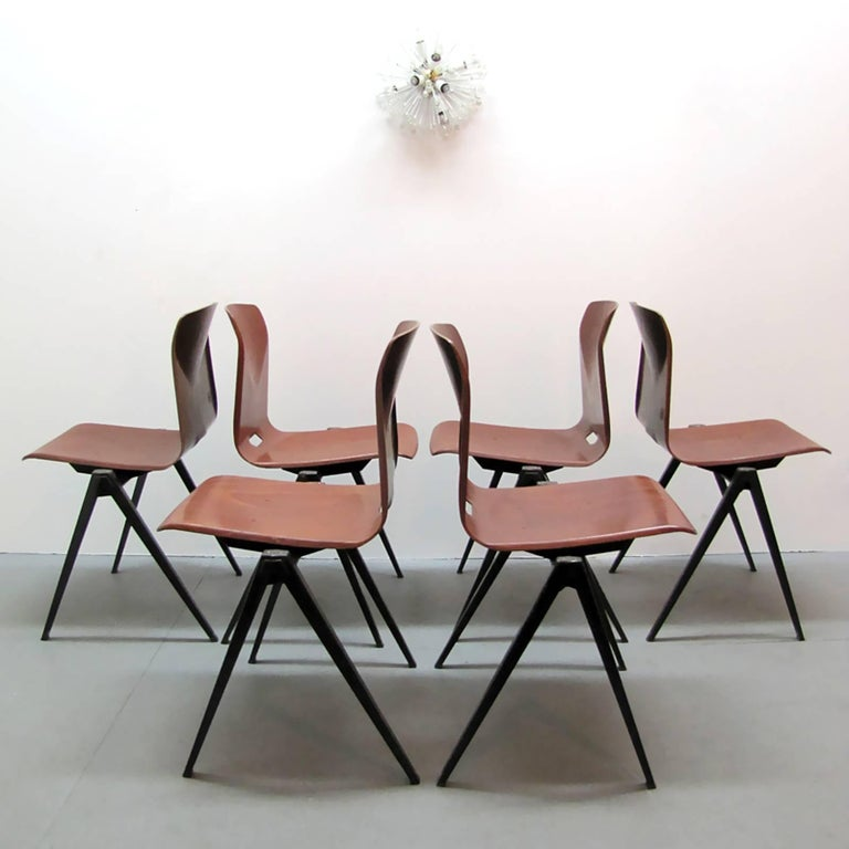 Metal Six Dining Chairs by Galvanitas For Sale