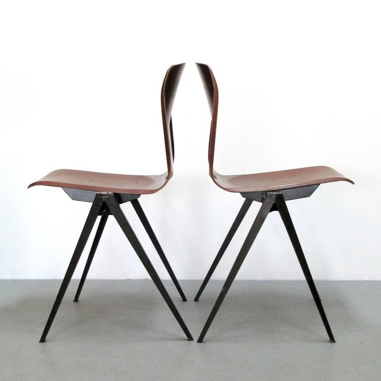 Mid-Century Modern Six Dining Chairs by Galvanitas For Sale