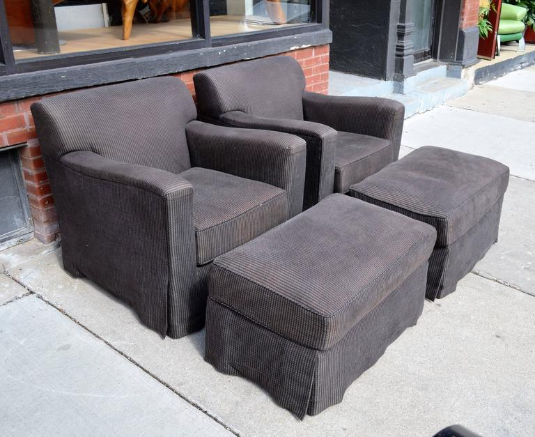 Pair of Christian Liaigre Lounge Chairs with Ottomans 2