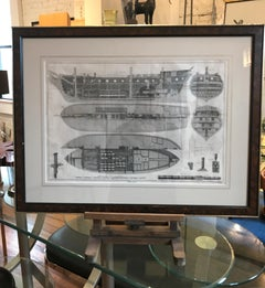 Nautical Engraving of the Shipbuilding Process by Charles-Joseph Panckouke