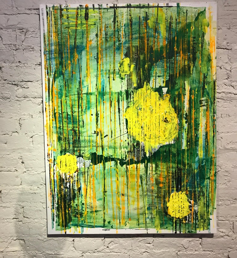 Bold Yellow Abstract Modern Painting By Chicago Artist Jay Miller The Work Features Heavy Brushwork