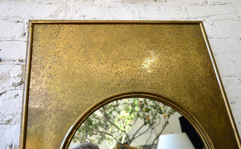 Tall Vintage Mastercraft Brass Mirror at 1stdibs