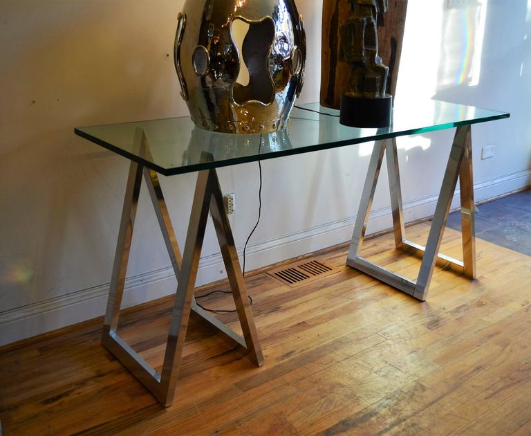 Aluminum sawhorse leg console table or desk for sale at 1stdibs aluminum sawhorse leg console table or desk the finest quality construction chrome and glass saw watchthetrailerfo