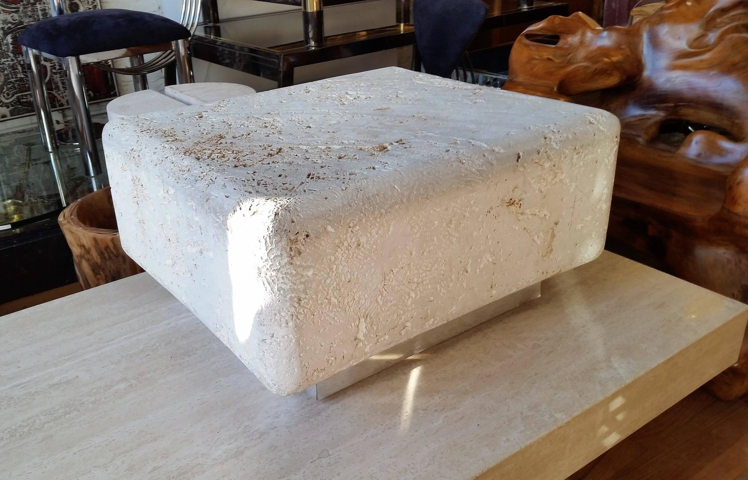 Natural Faux Coral Stone Fossilized Coffee Table For Sale At 1stdibs