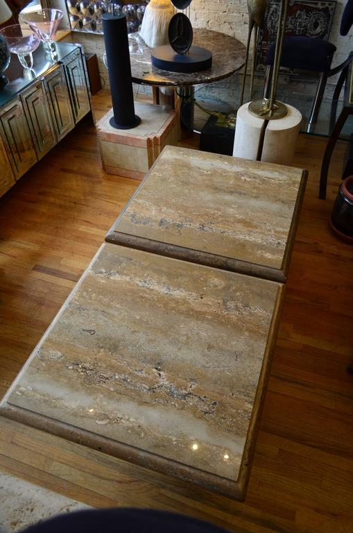 Travertine Pair of Large Square Coffee Tables For Sale 3