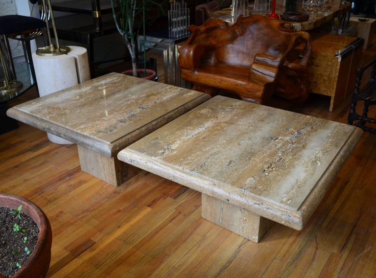 Travertine Pair Of Large Square Coffee Tables