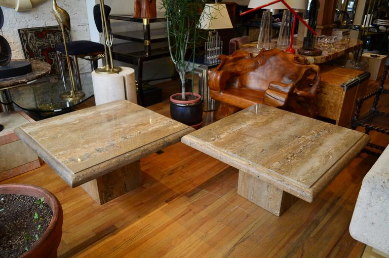Mid-Century Modern Travertine Pair of Large Square Coffee Tables For Sale