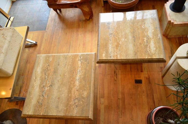 Italian Travertine Pair of Large Square Coffee Tables For Sale