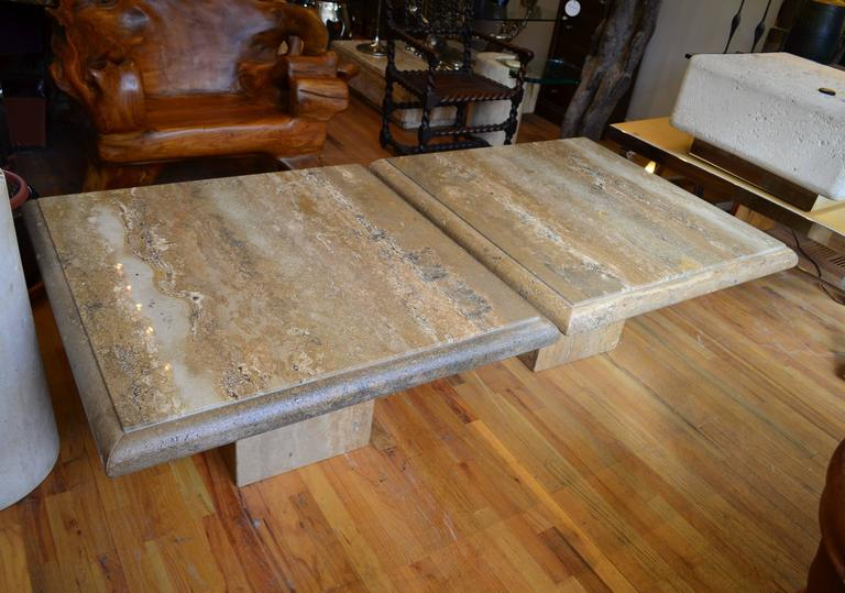 Late 20th Century Travertine Pair of Large Square Coffee Tables For Sale