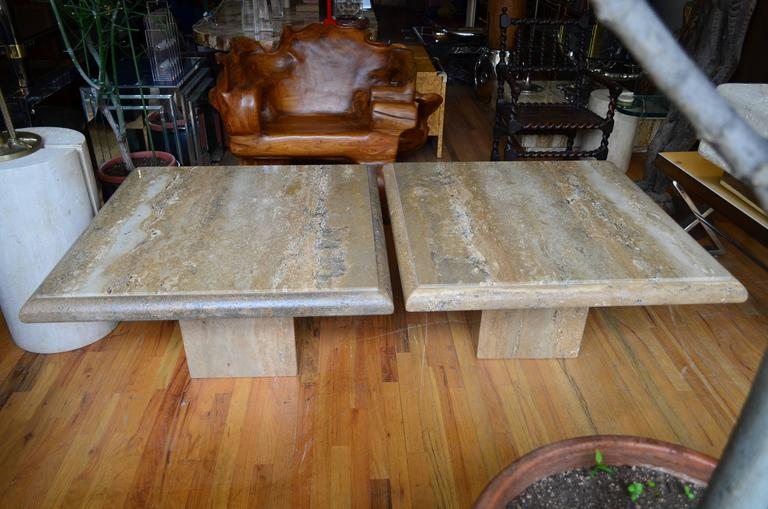 Marble Travertine Pair of Large Square Coffee Tables For Sale