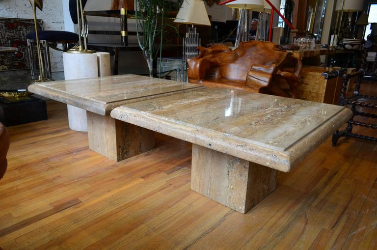Travertine Pair of Large Square Coffee Tables For Sale 1