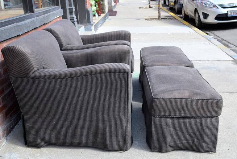 Mid-Century Modern Pair of Christian Liaigre for Holly Hunt Arm Chairs with Ottomans For Sale