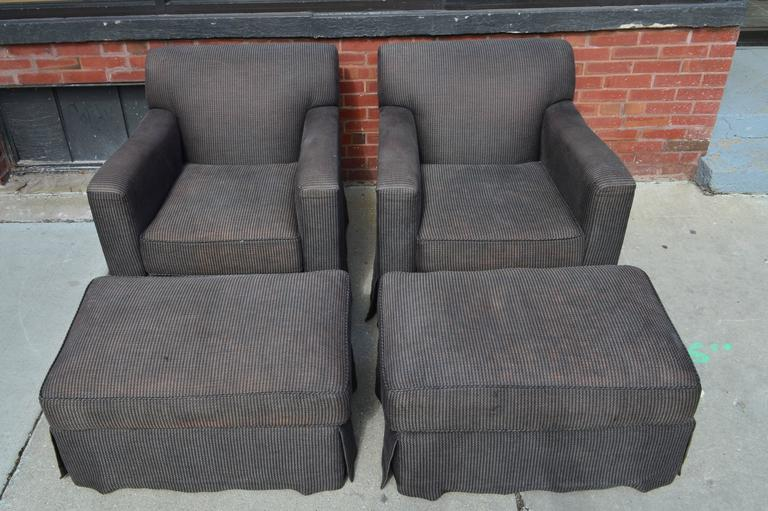 American Pair of Christian Liaigre for Holly Hunt Arm Chairs with Ottomans For Sale