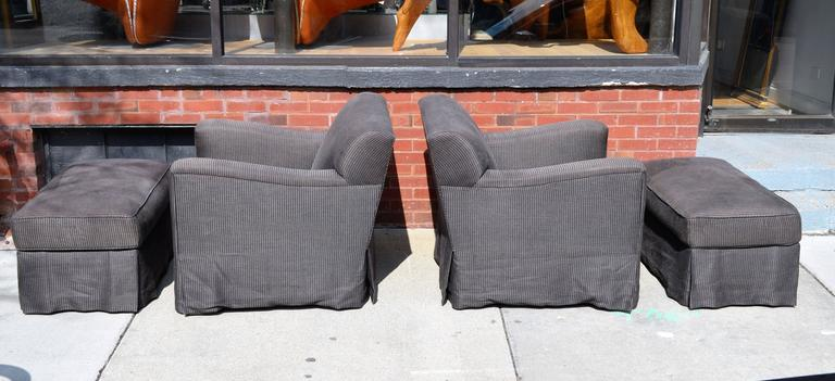 Pair of Christian Liaigre for Holly Hunt Arm Chairs with Ottomans In Good Condition For Sale In Chicago, IL