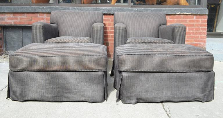 Late 20th Century Pair of Christian Liaigre for Holly Hunt Arm Chairs with Ottomans For Sale