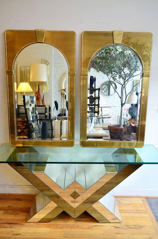 Mid-Century Modern Mastercraft Pair of Brass Mirrors For Sale