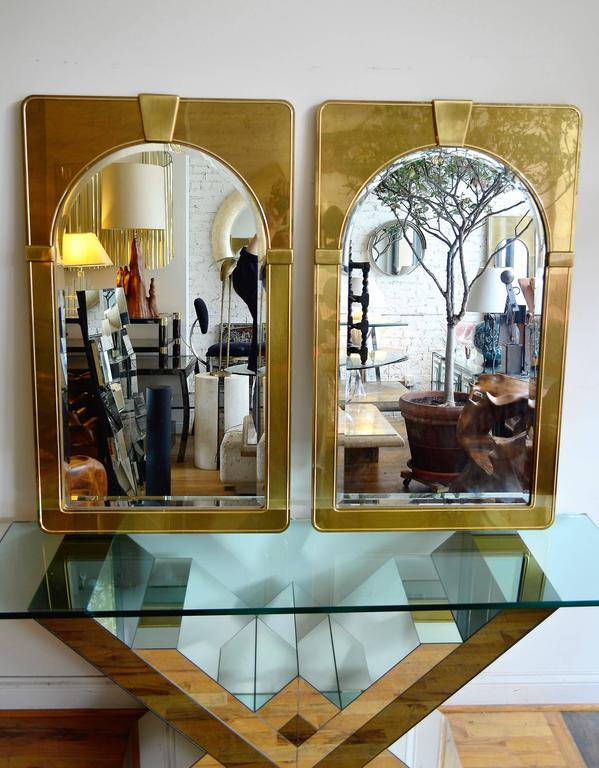 American Mastercraft Pair of Brass Mirrors For Sale
