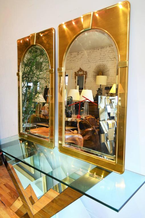Late 20th Century Mastercraft Pair of Brass Mirrors For Sale