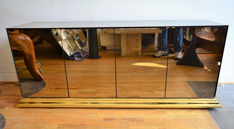 Mid-Century Modern Mirrored Ello Credenza For Sale