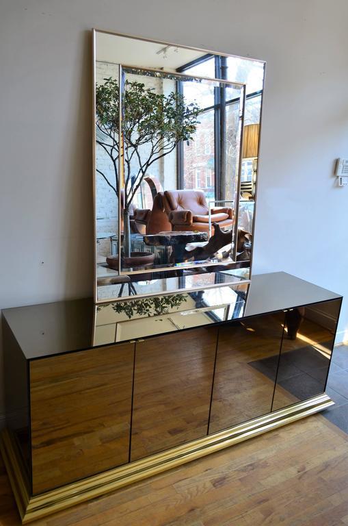 Brass Mirrored Ello Credenza For Sale