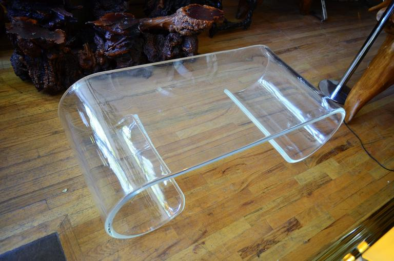 Mid Century Modern Large Exceptional Scroll Lucite Coffee Table For