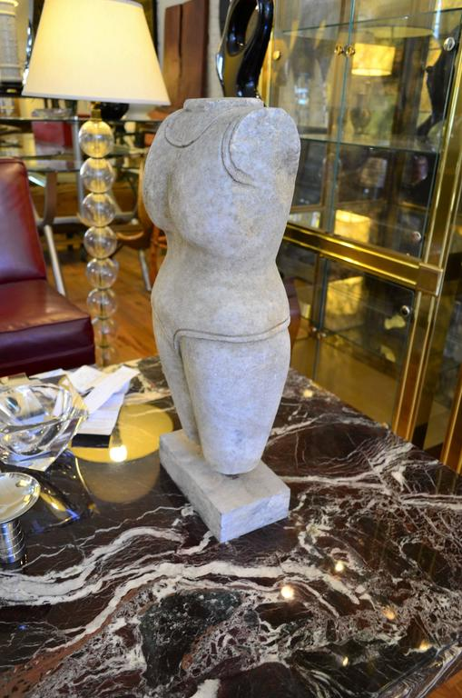 Indian Style Marble Torso Sculpture In Good Condition For Sale In Chicago, IL