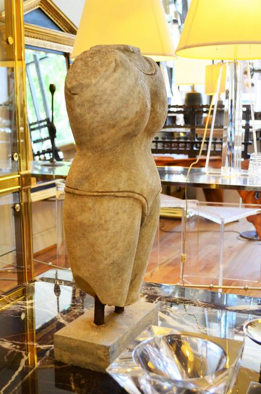 20th Century Indian Style Marble Torso Sculpture For Sale