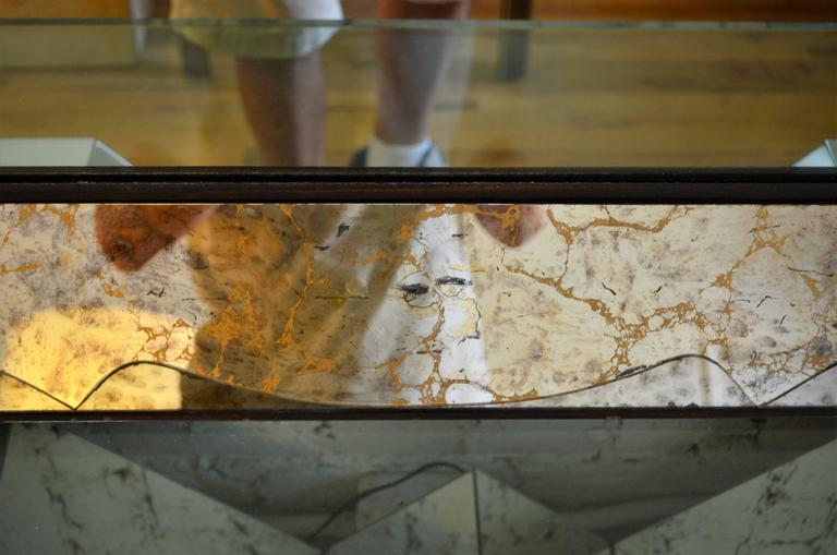 American Monumental Venetian Style Smoked Glass Mirror For Sale