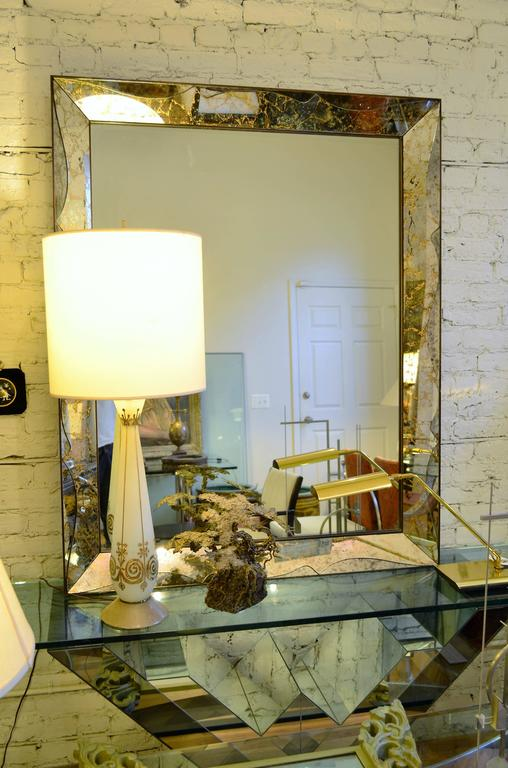 Monumental Venetian Style Smoked Glass Mirror For Sale 1