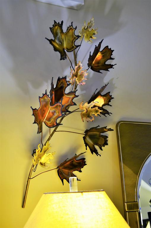 Burnished Pair of Curtis Jere Maple Leaf Wall Sculptures For Sale