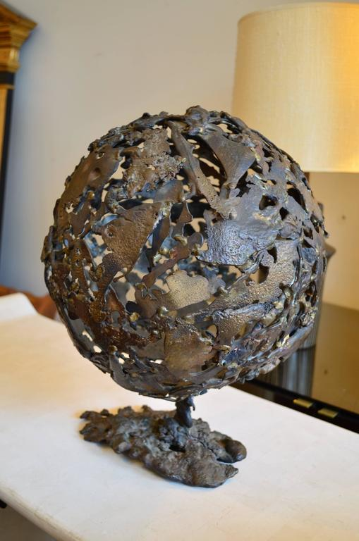 American Abstract Brutalist Mid-Century Globe Sculpture