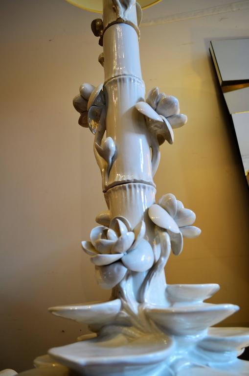 Mid-Century Italian Ceramic Lotus Floor Lamp 2