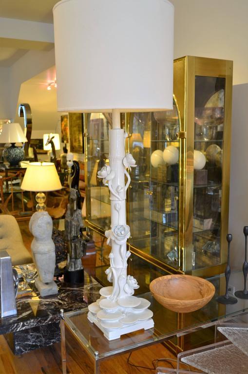 Mid-Century Italian Ceramic Lotus Floor Lamp 4