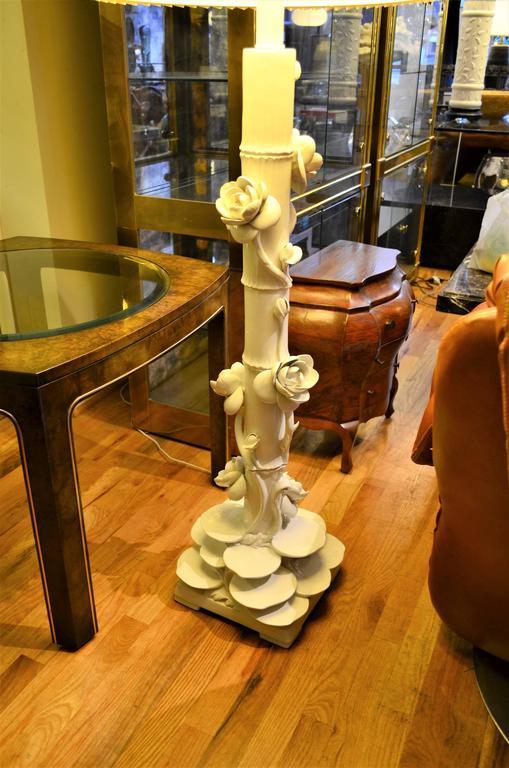 Mid-Century Italian Ceramic Lotus Floor Lamp 10