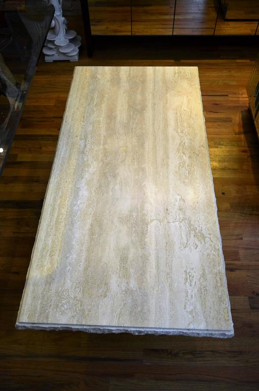 Mid-Century Modern Italian Rectangle Travertine Coffee Table For Sale