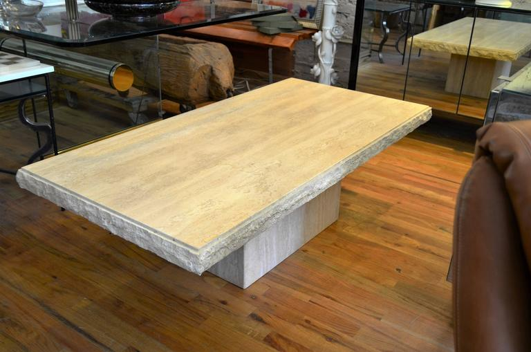 Polished Italian Rectangle Travertine Coffee Table For Sale