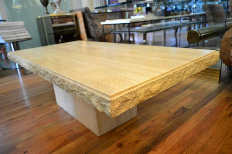 Late 20th Century Italian Rectangle Travertine Coffee Table For Sale