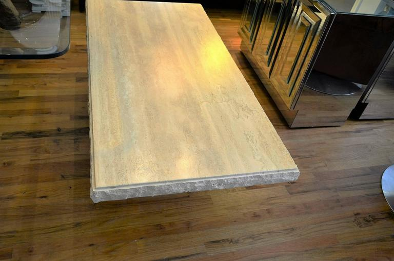 Italian Rectangle Travertine Coffee Table For Sale 2