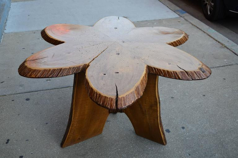 Folk Art Hand Crafted American Studio  Oak Andirondack Table For Sale