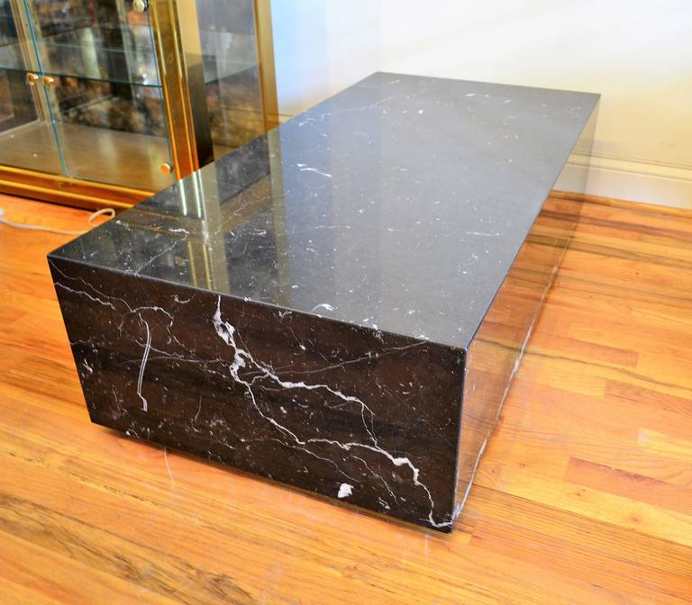 Mid Century Square Steel Coffee Table With Black Marble: Mid-Century Modern Italian Black Marble Rectangle Low
