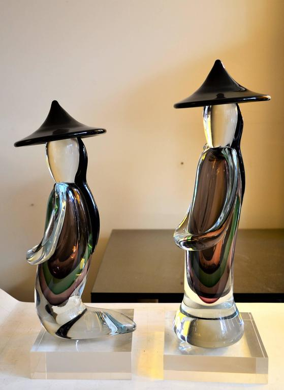 Pair Of Murano Sommerso Chinese Men Glass Figurines By